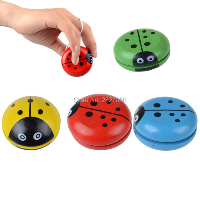 Four Colors Cartoon Ladybird Yo Yo Ball Toy Kawaii Wooden Yoyo Ladybug YOYO  Creative Toys For