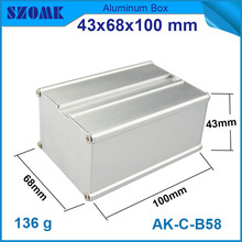 1 piece powder coating aluminum extrusion profiles silver metal junction enclosure 43x68x100mm