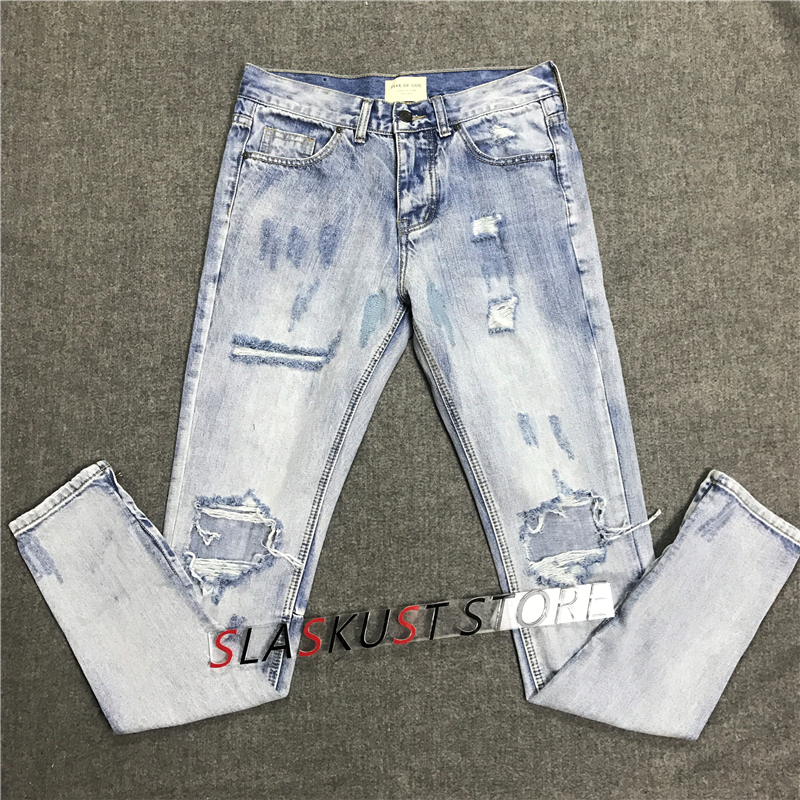 Vintage Indigo Distressing Denim   Jeans   High Quality Zippered Ankles Biker   Jeans   Kanye West Streetwear