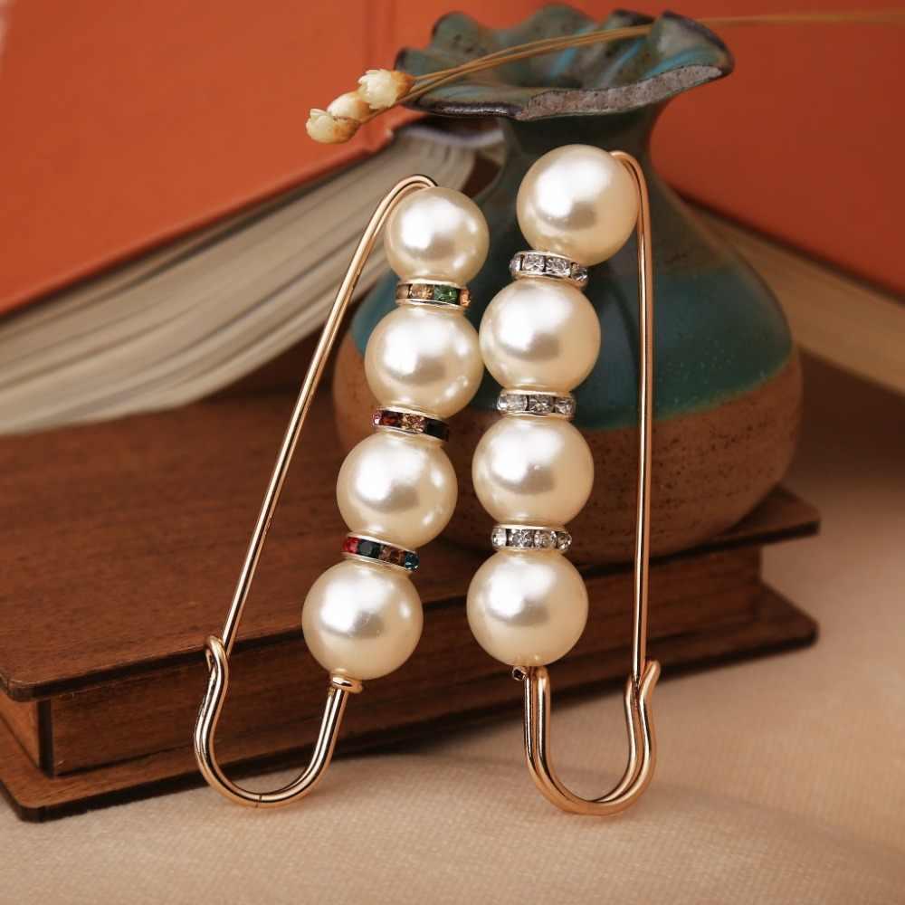 OneckOha Simulasi Pearl Bros Pin Gaun Berlian Imitasi Dekorasi Gesper Pin Bros Perhiasan Untuk Pria Wanita