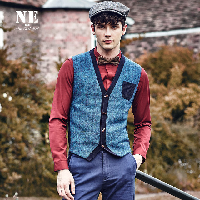 Brand Men Clothing2017 Auutmn Winter Casual Knitting Patchwork men suit vest waistcoat mens formal wedding gilet plus size