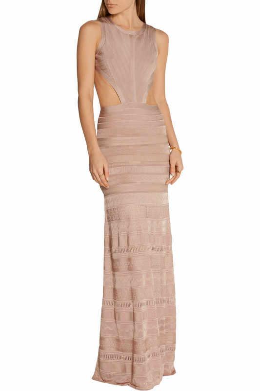 Длинное облегающее платье 2016 новое поступление черный ажурный HL Высокое качество платье с повязкой для Для женщин