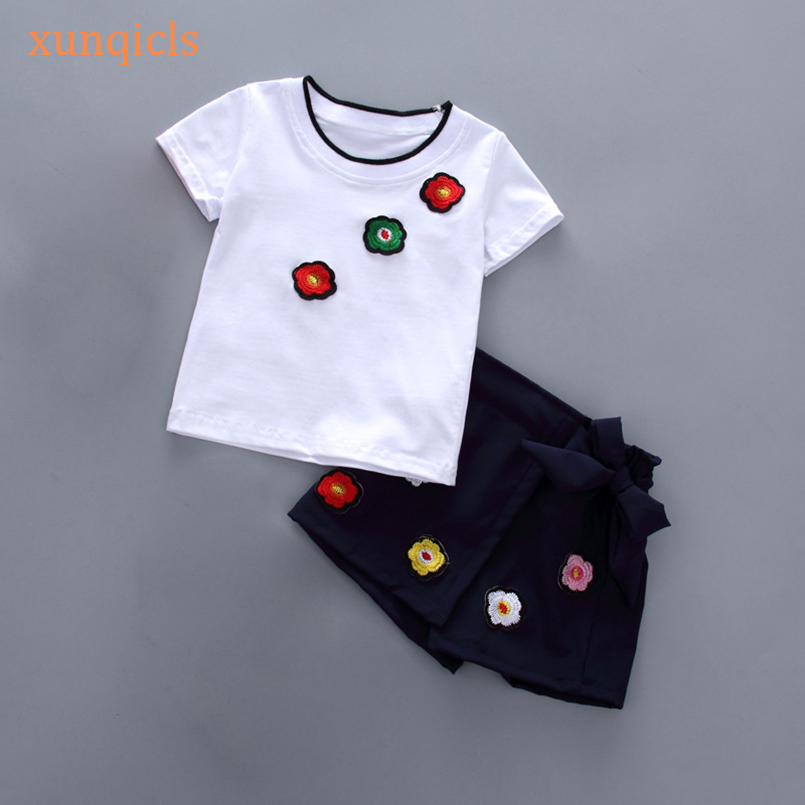 xunqicls New Summer Children Clothes Set Girls Short Sleeve T-shirt +Shorts 2pcs Suits Embroidered Flower Kids Clothing Setxunqicls New Summer Children Clothes Set Girls Short Sleeve T-shirt +Shorts 2pcs Suits Embroidered Flower Kids Clothing Set