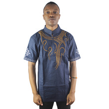 Embroidered Men`s Ethnic Attire Tops Cotton and Short Sleeved Tunic Shirts For African Wedding Wearing