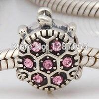 Bán buôn 925 Sterling Silver beads đối với phụ nữ Charms Nhẹ Rose Tinh Thể Nhỏ Con Rùa Đồ Trang Sức fit bracelets & necklaces