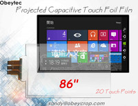 Obeytec 86 Transparent Touch Screen Foil, USB Interface, Driver Free, 20 Touch Points, support Windows, Linux, Android