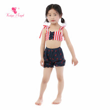 Kaiya Angel Baby Girl Swimwear Summer Shorts Belt Red White Stripes Toddlers Bow Ruched Hot Sale 5pcs/lot Kid Factory Wholesale