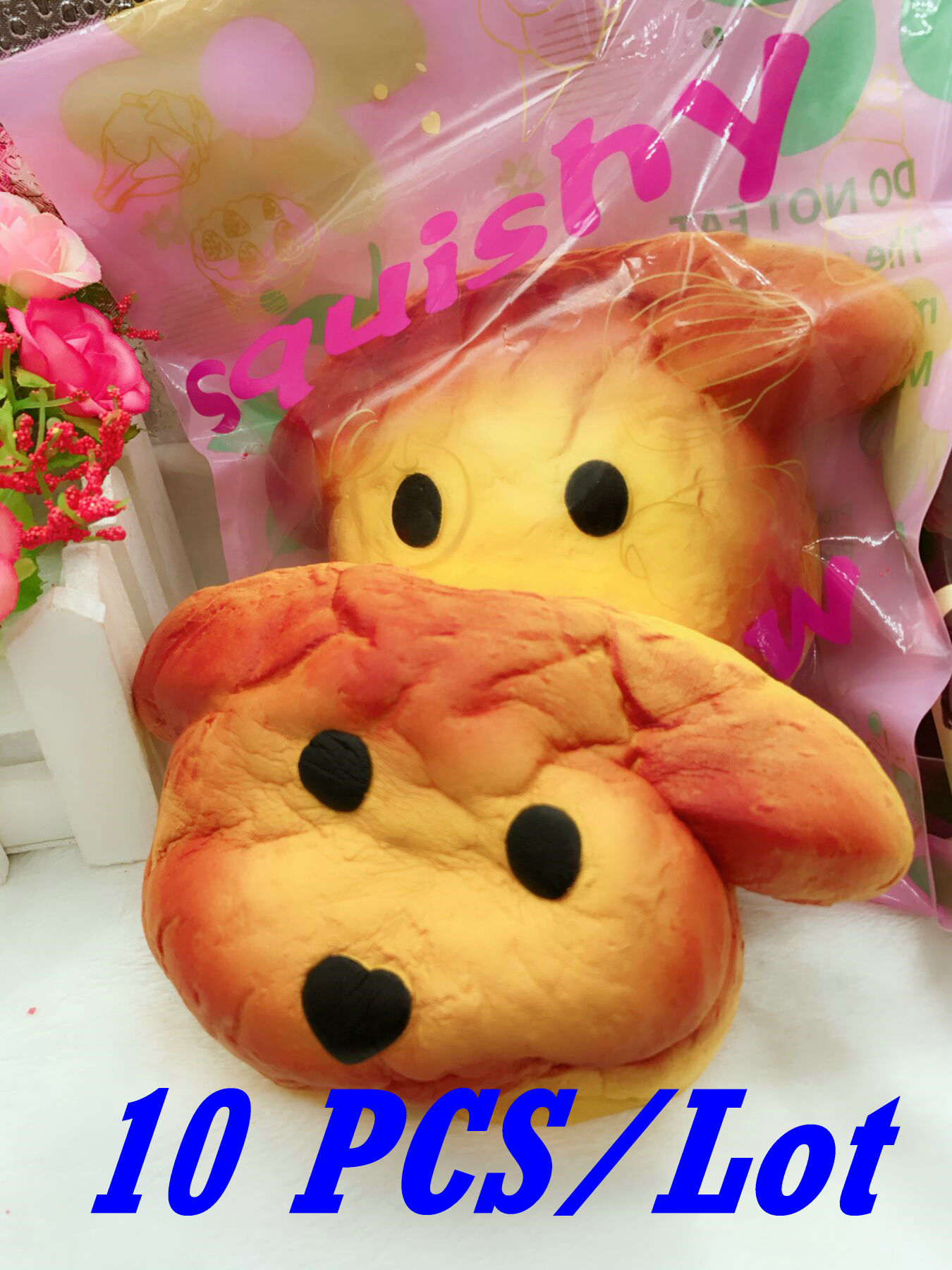 imágenes para 2017 10PCS/Lot Large Jumbo 15CM Kawaii Squishy Puppy Dog Bread Squeeze Super Slow Rising Soft Scent Cake Toy Gift W/Pakcage