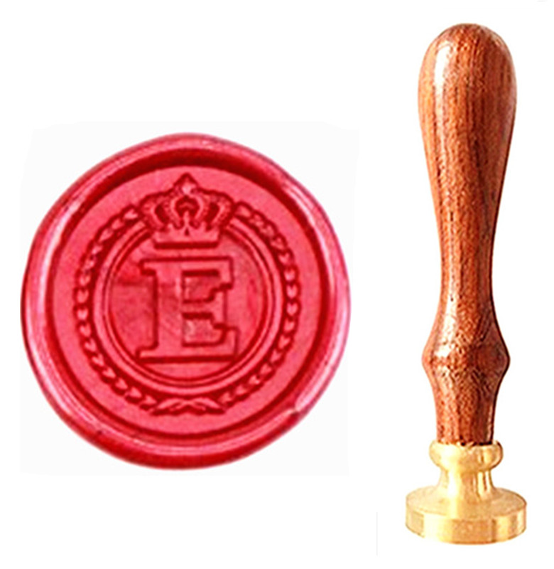 MDLG Vintage Alphabet Letter E Crown Wedding Invitations Gift Cards Wax Seal Stamp Stationary Sealing Wax Stamp Wood Handel Set elegant flower lace lacut cut wedding invitations set blank ppaer printing invitation cards kit casamento convite pocket