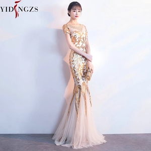 Image 2 - YIDINGZS Gold Sequins Party Formal Dress Short Sleeve Beads Sexy Long Evening Dresses YD089