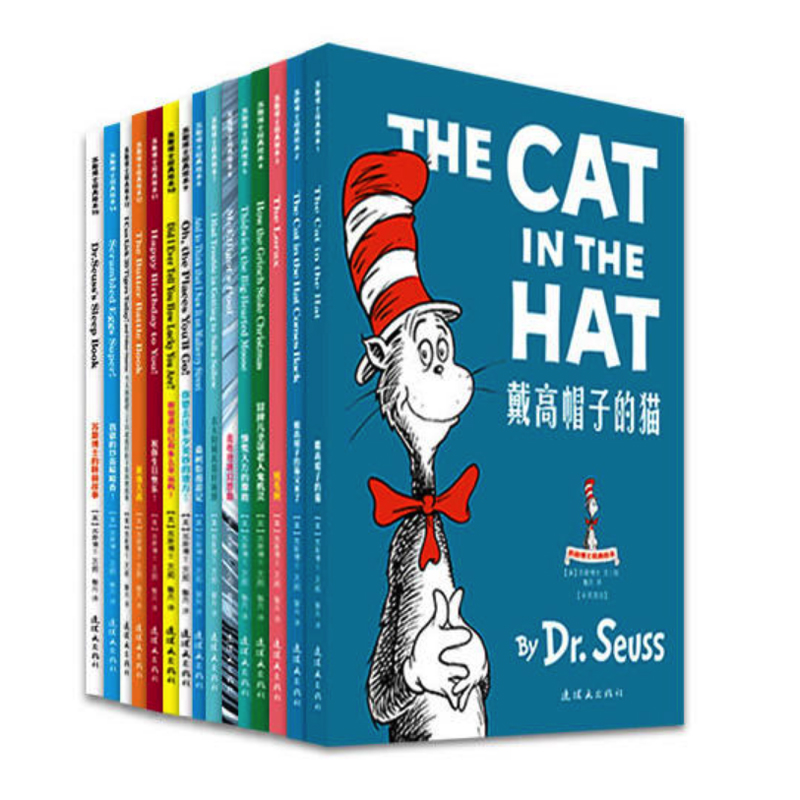 Dr. Seuss Bilingual Classical Picture Book Full Set of 15 Volumes of 7-10 Year Old Simplified Chinese and English Paperback dr seuss bilingual classical books a set of 8 volumes for children improvement edition english and simplifiedchinese hardcover