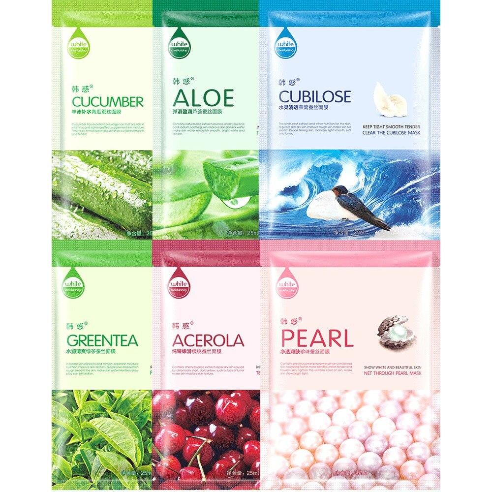 10Pcs Face natural silk Mask Cucumber Cucumber/Aloe vera/Bird's nest/Green tea/Cherry/pearl Facial Mask Moisturizing Beauty Mask