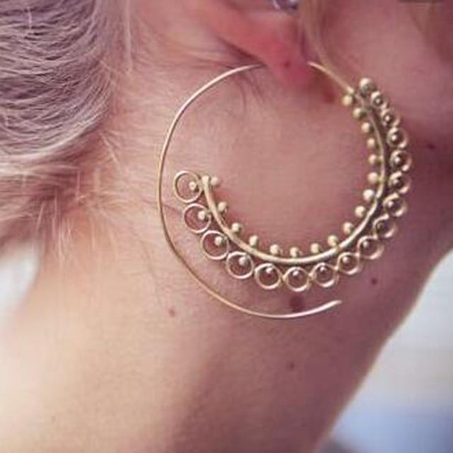 Naomy&ZP Bohemian Round Spiral Drop Earrings Big Ethnic Gold Silver Color Punk Whirlpool Gear Earrings for Women Fashion Jewelry 4