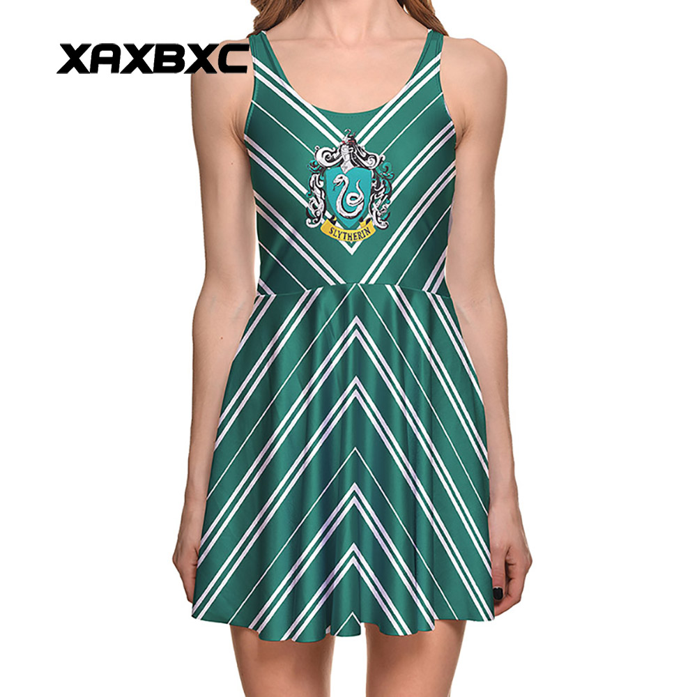 488461cb22c NEW Arrival 1297 Sexy Girl Women Summer HP Slytherin Snake Stripe Hogwarts  3D Print Reversible Sleeveless