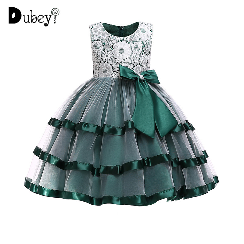 Teenager Girl Lace Big Bow knot Evening Dress Elegant Layered Princess Dress for Girl's Birthday Party Kids Dresses for Girls