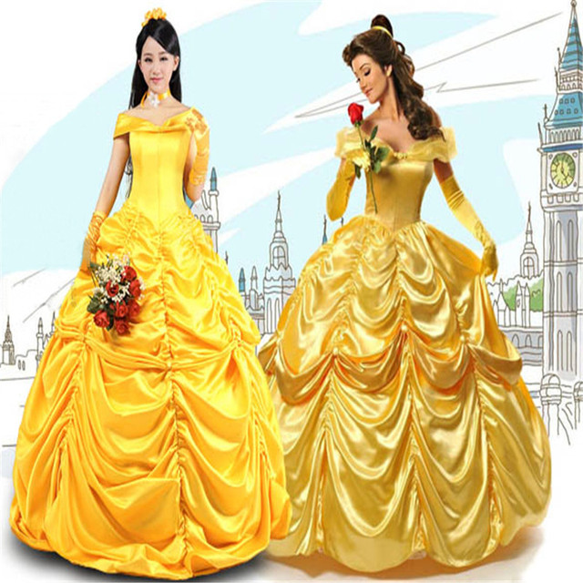 Beauty And The Beast Princess Belle Yellow Dress Adult Cosplay Costumes Halloween Party