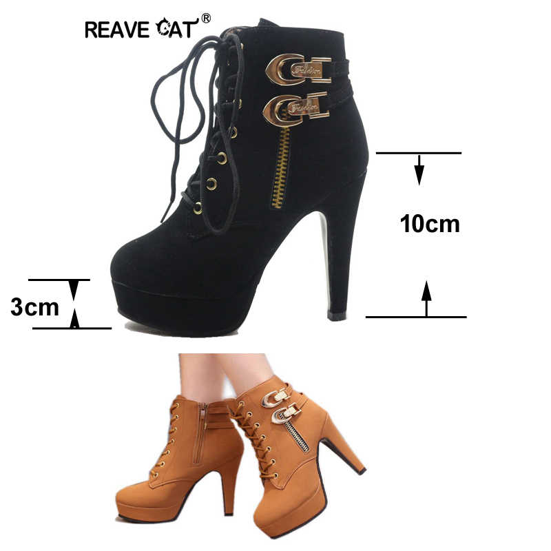 REAVE KEDI Bahar Sonbahar Kadın yarım çizmeler Kadın Yüksek Topuklu Lace Up deri ayakkabı Kadın Çift Toka Platformu Moda A245