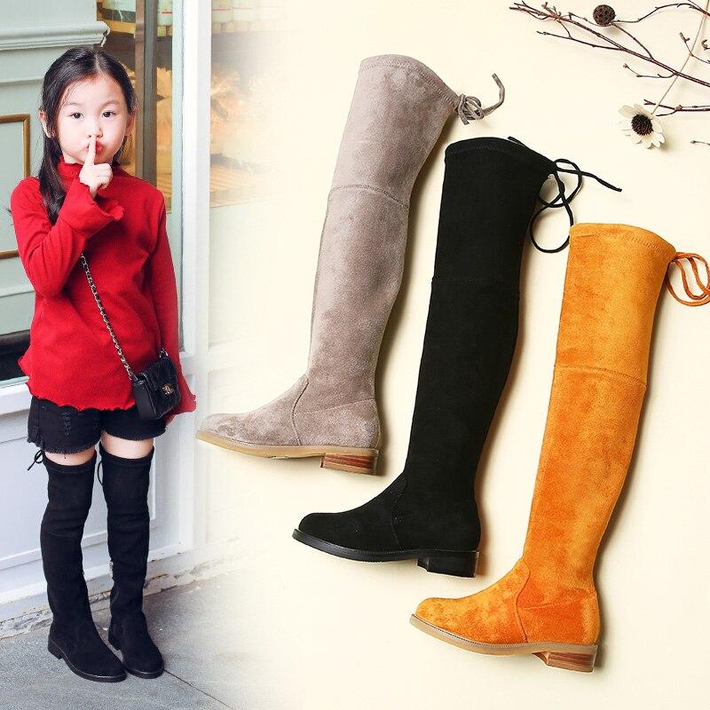Gamlon enfants sur genou bottes fille chaussures genou mode enfants bottes 2019 automne et hiver princesse filles étudiants maman chaussures