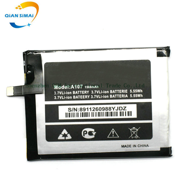 QiAN SiMAi New original High Quality 3.7V 1500mAh Micromax A107 Battery for Micromax A107 mobile phone in stock+ Free shipping