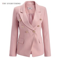 Pink Blazer Women Jacket 2019 Double Breasted White Jackte Plus Size Female Coat 3XL