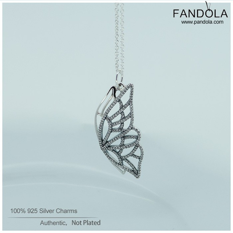 Promotion Necklaces & Pendants 925 Sterling Silver Jewelry Clear CZ New Beginning Butterfly Necklace for Women Accessories