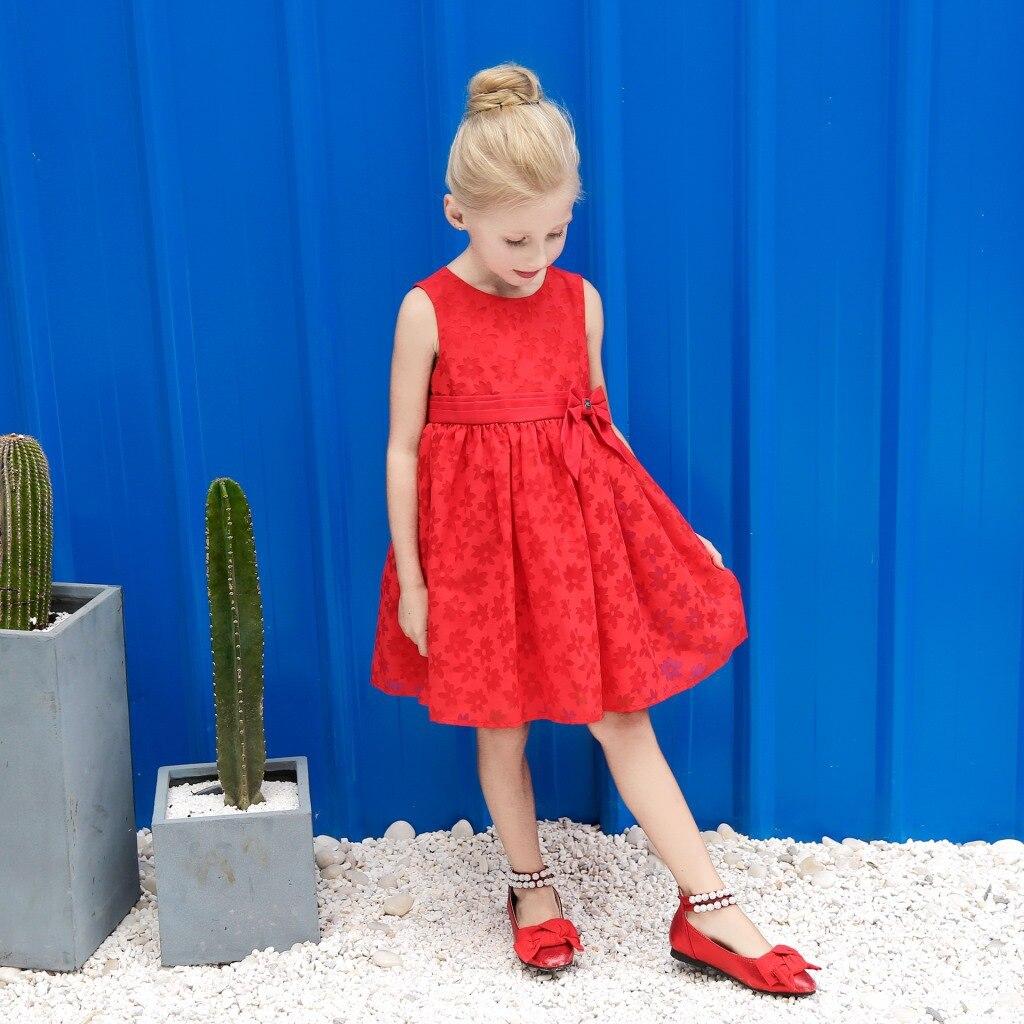 Zomer nieuwe kinderjurk Effen kleur Rood Kindermeisjes Jurken - Kinderkleding - Foto 4