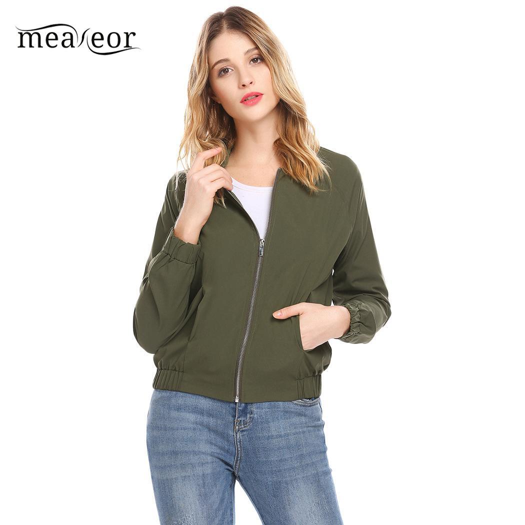 Meaneor   Basic     Jacket   Zipper Women Outwear with Pocket Thread and Cuffs Stand Collar Hem Long Sleeve Autumn   Jacket   Elastic Coats