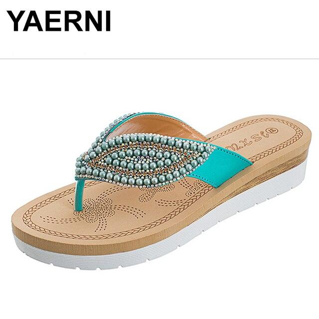 b13eb2d1d473 YAERNI 2018 women slippers summer blue color crystal BOXIMIYA style beaches flip  flops platform sandals women size 36-41