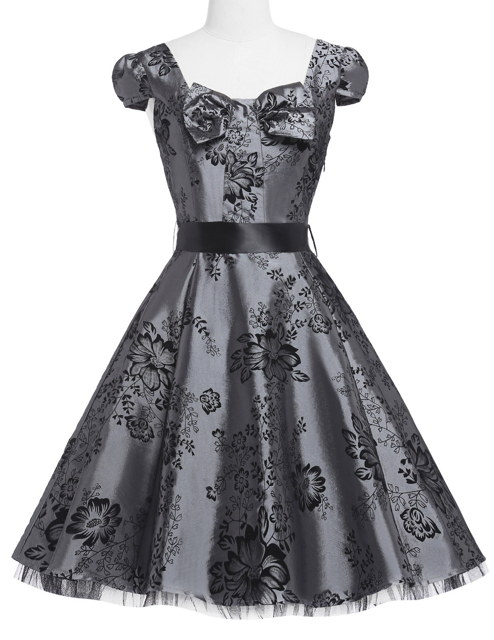 100% vraie image 50 s rockabilly robes jurken robe longue femme 2017 cap manches robe swing midi robe robes femininos pas cher