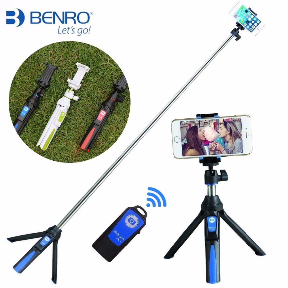 Benro MK10 כף יד & חצובה Combo Selfie סטיק עם Bluetooth מרחוק & GoPro מתאם עבור iPhone 7 Sumsang Galary Huawei