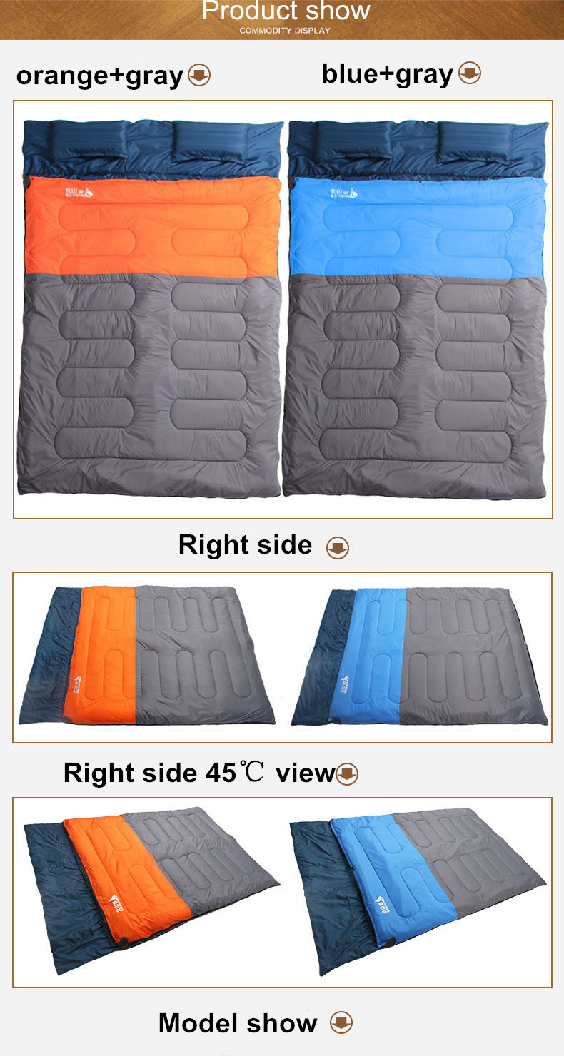 Sleeping Bag Couple with pillows outdoor camping indoor mat for lunch break portable Adult lover warm for four seasons (6)