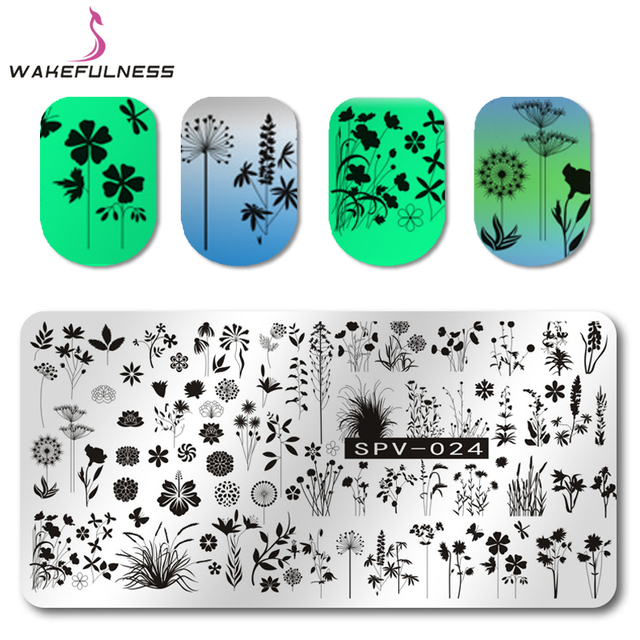 1 Pcs Dandelion Padrão Prego Carimbar Placas Modelo Stencils Flores Grama Retângulo Nail Art Stamp Placa Imagem Manicure Ferramenta