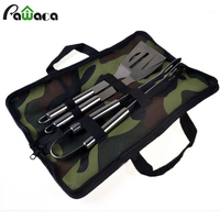 Stainless Steel BBQ Grill Tools Set Spatula Fork Tong Basting Tool Barbecue Kit With Carry Bag