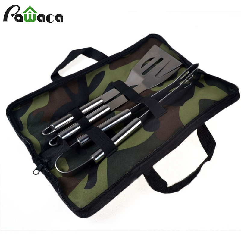 Stainless Steel BBQ Grill Tools Set Spatula Fork Tong Basting Tool Barbecue Kit with Carry Bag for Outdoor Cooking Accessories