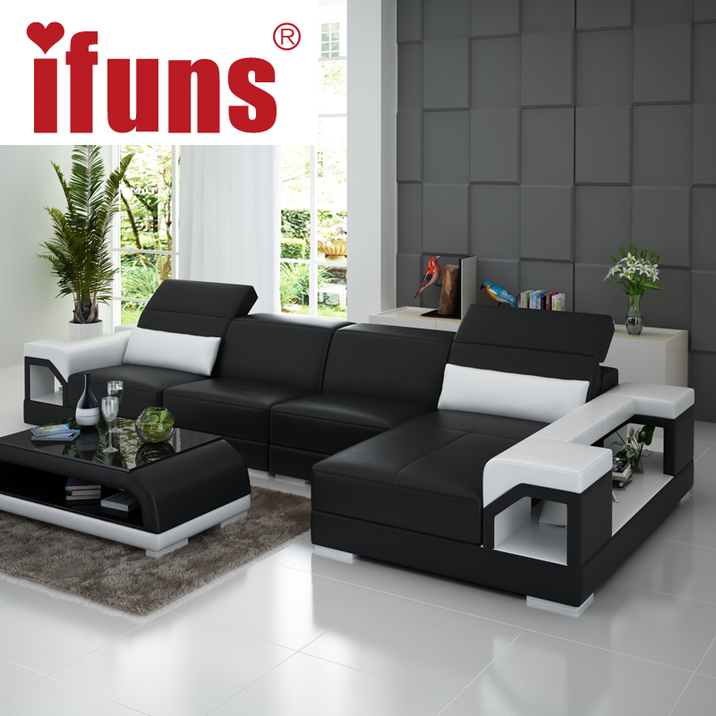 IFUNS Brillancy Orange Genuine Leather Corner Sofas Modern Design L Shape Recliner Floor Sofa Set Living Room Furniture Fr In From