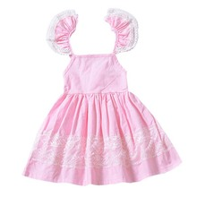 цены pink color baby girl summer clothes cuet  Sleeveless lace girl dress  Knee-length Flowers ruffles cotton Party Sundress vestido
