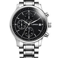LOREO Sapphire Quartz Watch Men Silver Stainless Steel Waterproof Black Dial Date Watch Relogio Masculine