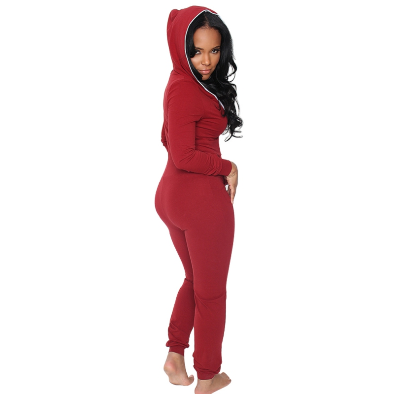 Casual Women Outfits Jumpsuits Long Sleeve Front Zipper Hooded Long Pants Sexy Black/Red Rompers Playsuit One Piece