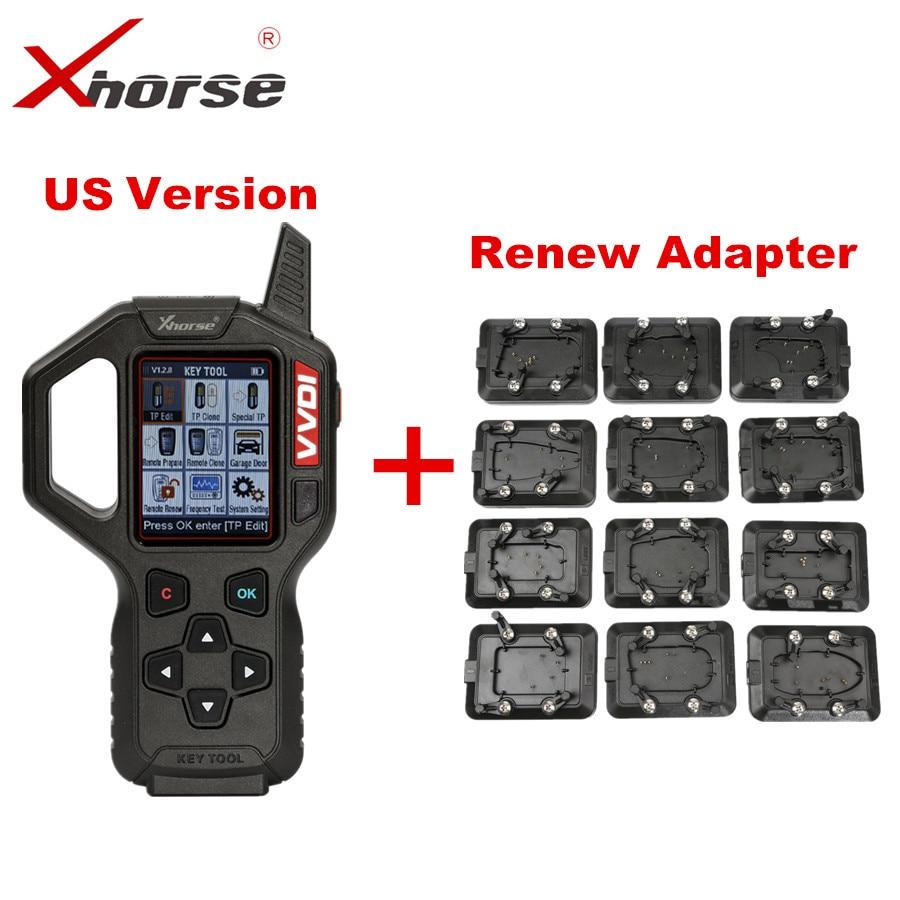 Original Xhorse US Version VVDI Key Tool Remote Key Programmer With Full Set 12pcs EEPROM Adapter VVDI Key Tool Renew Adapter все цены