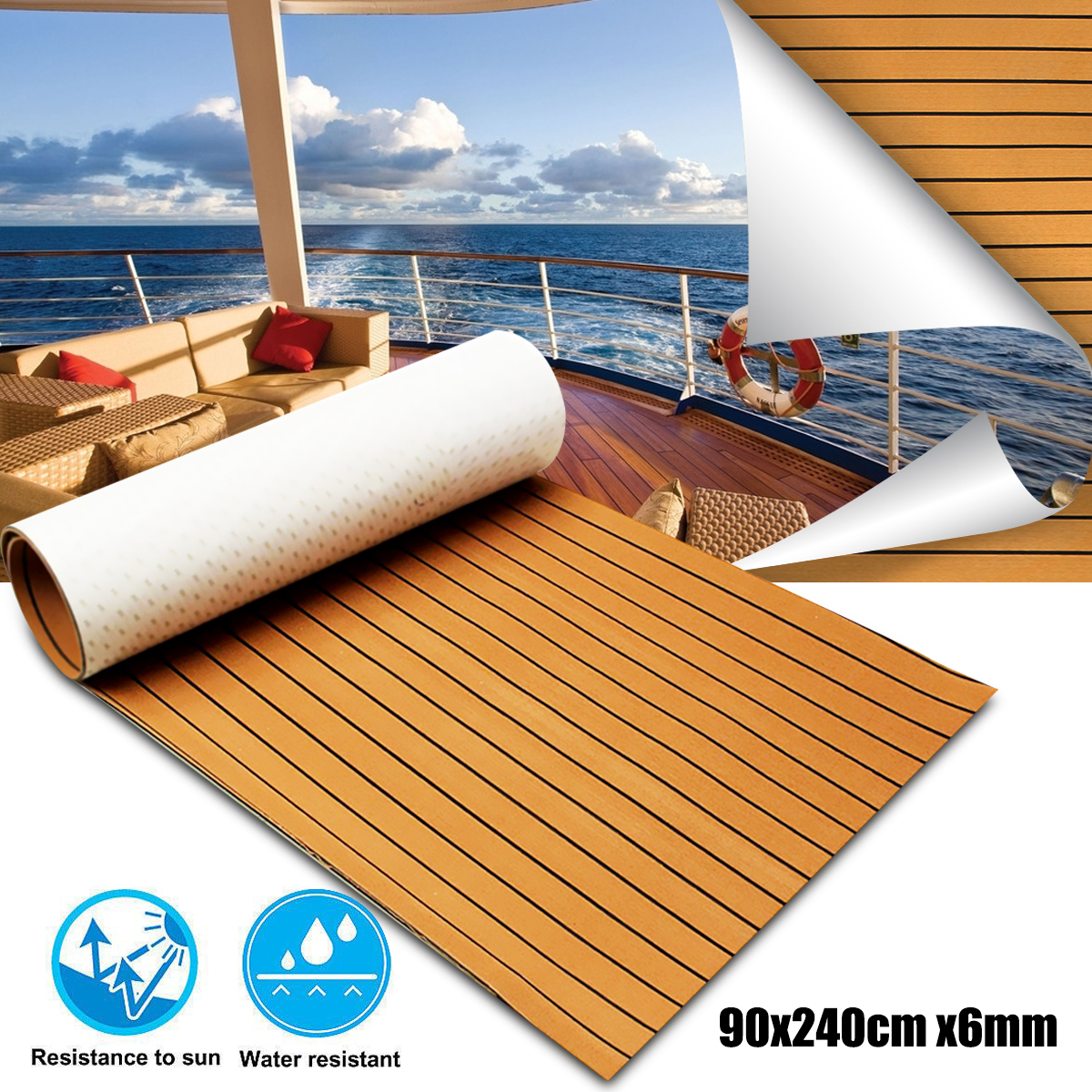 900x2400x6mm Self-Adhesive Gold With Black Lines Marine Flooring Faux Teak EVA Foam Boat Decking Sheet