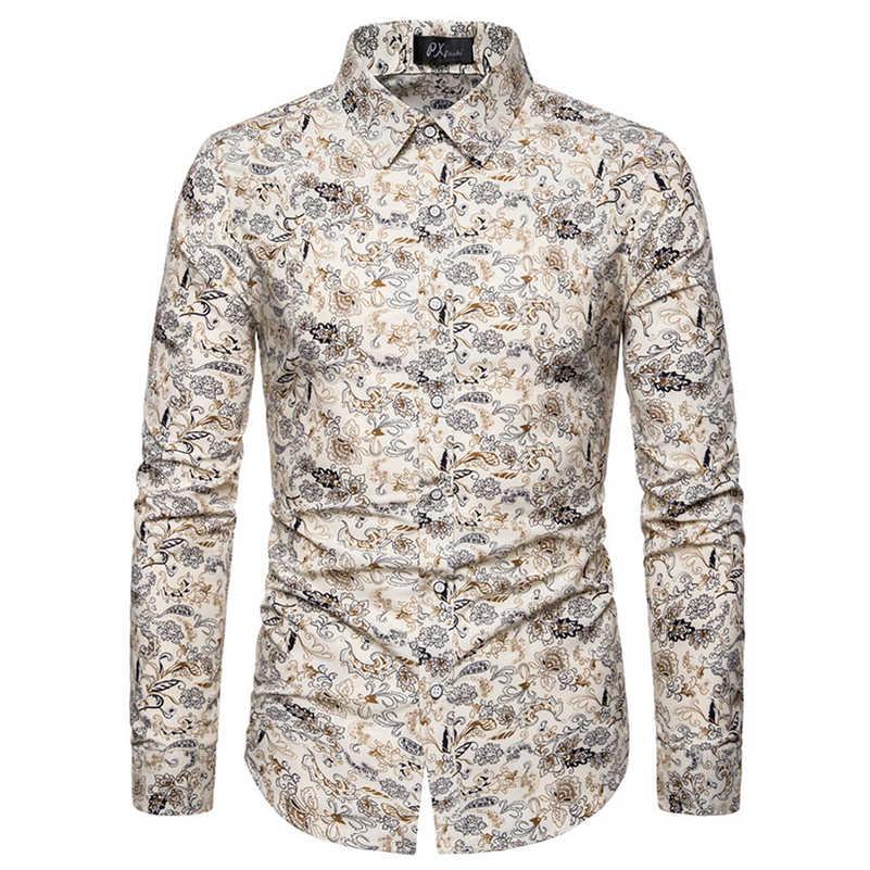 VISADA JAUNA 하와이 남성 캐주얼 셔츠 플로랄 프린트 슬림 피트 긴팔 셔츠 남성 패션 공식 빅 사이즈 5XL