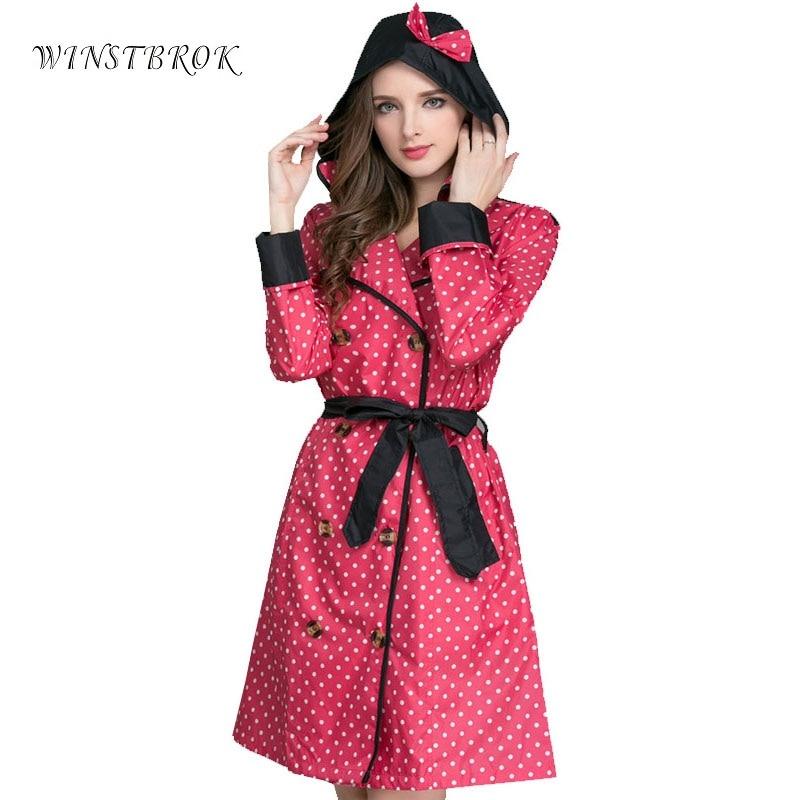 WINSTBROK 긴 비옷 여성 숙녀 레인 코트 2018 여성 레인 코트 통기성 야외 여행 발수 승마 의류