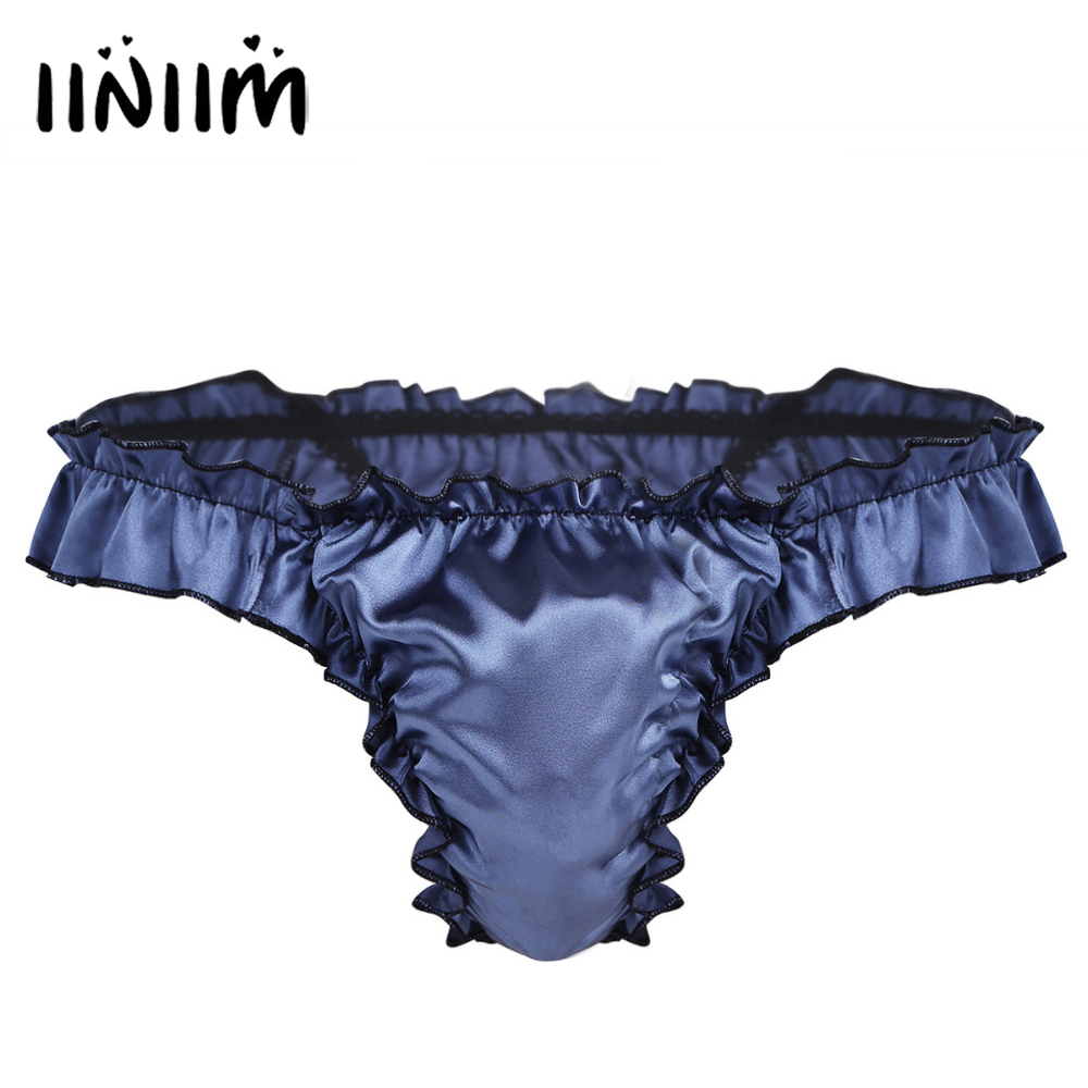 Mens Lingerie Soft Shiny Ruffled Frilly Sissy Bikini High Cut Open Butt Jockstraps Briefs Underwear Underpants Sexy Gay Panties