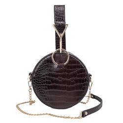 Luxury Crocodile Pattern Women Handbag Women Shoulder Messenger Bag Chain Evening Bag Small Round Bag Wrist Bag Handbag 2019
