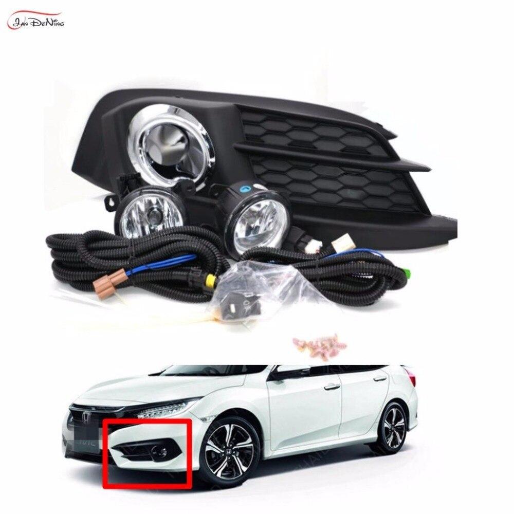 Jandening Противотуманные фары автомобиля для Honda Civic 2016 ~ 2017 2/4 двери ясно, галогенные лампы H11 12V55W передние противотуманные фары бампер лампы для