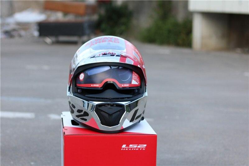 2017 New LS2 FF390 Breaker Chrome plated helmet Can be Wear glasses Full Face Motocycle helmet