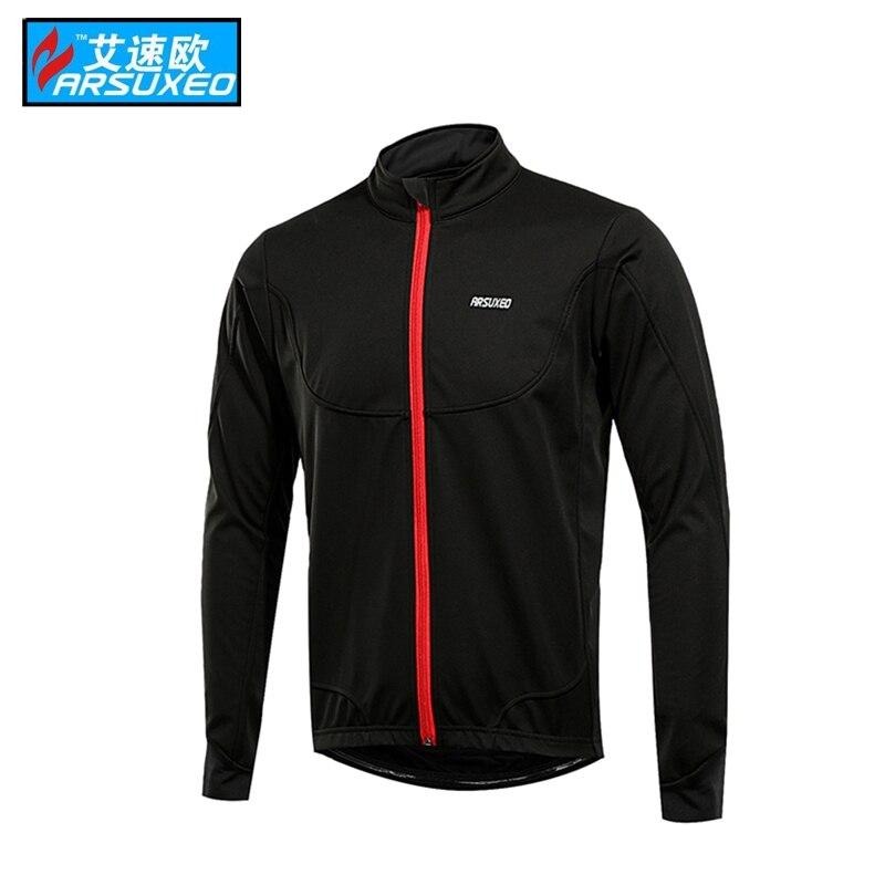 ARSUXEO Cycling Jacket Winter Thermal Warm Up Fleece MTB Bike Jacket Light Weight Windproof Waterproof Cycling Coat