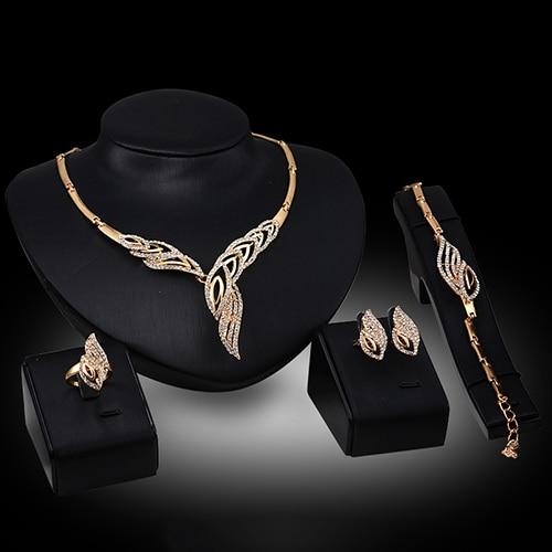 Necklace Bracelet Jewelry-Set Ring-Earrings-Set Rhinestone Wavy Wedding Stainless-Steel