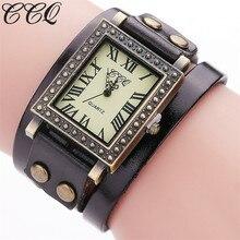 Bracelet Watch Genuine-Leather Relogio Gift Vintage Casual Women Luxury Brand CCQ Quartz