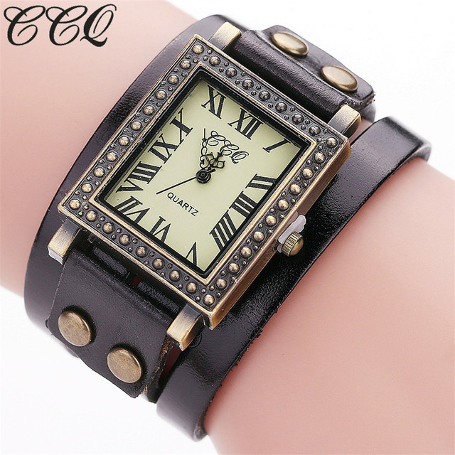 CCQ Brand Fashion Vintage Genuine Leather Bracelet Watch Casual Women Wrist Watc